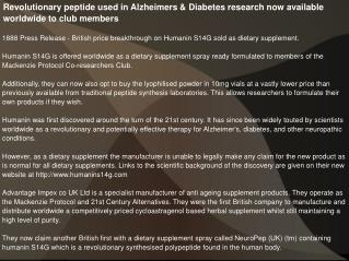 Revolutionary peptide used in Alzheimers & Diabetes research