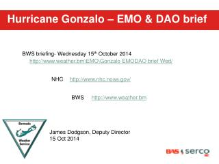 Hurricane Gonzalo – EMO & DAO brief