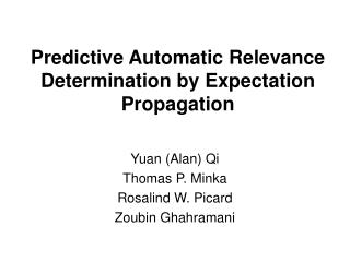 Predictive Automatic Relevance Determination by Expectation Propagation