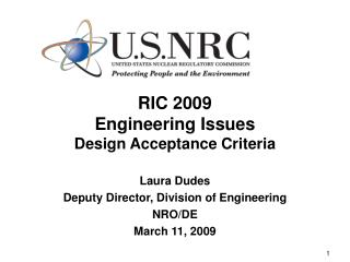 RIC 2009 Engineering Issues Design Acceptance Criteria