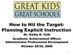 How to Hit the Target: Planning Explicit Instruction