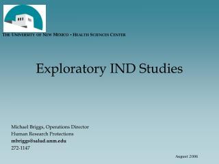 Exploratory IND Studies
