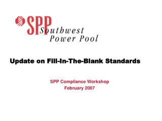 Update on Fill-In-The-Blank Standards