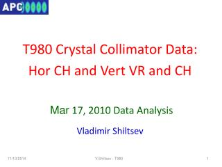 T980 Crystal Collimator Data:  Hor  CH and  Vert  VR and CH  Mar  17, 2010 Data Analysis