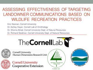 Erin Noonan, Cornell University Dr. Ashley  Dayer , Cornell Lab of Ornithology