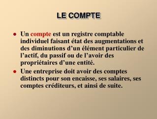 LE COMPTE