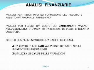 RUOLO COMPLEMENTARE DELL'ANALISI PER FLUSSI: