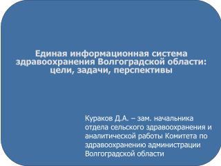 Единая информационная система здравоохранения Волгоградской области: цели, задачи, перспективы