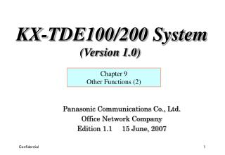 Panasonic Communications Co., Ltd. Office Network Company Edition 1.1     15 June, 2007