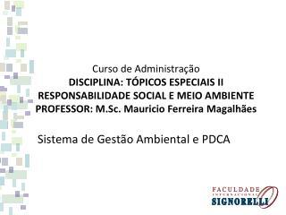 Sistema de Gestão Ambiental e PDCA