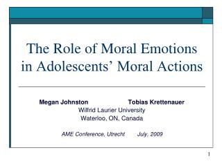 The Role of Moral Emotions in Adolescents' Moral Actions