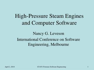 High-Pressure Steam Engines and Computer Software