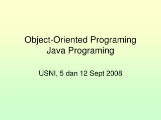 Object-Oriented Programing Java Programing