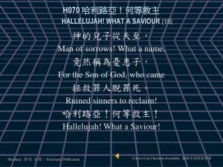 H070  哈利路亞!何等救主 HALLELUJAH! WHAT A SAVIOUR (1/5)