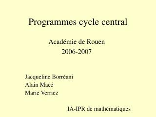 Programmes cycle central