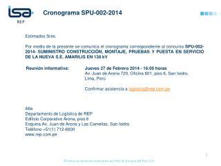 Cronograma  SPU-002-2014