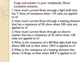 Copy and  answer in your notebooks. Show complete solution.