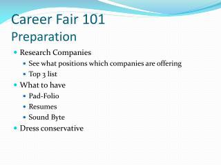 Career Fair 101 Preparation
