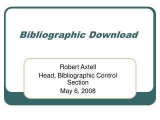 Bibliographic Download