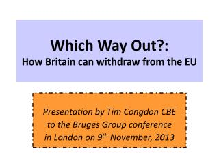 Which Way Out?: How Britain can withdraw from the EU