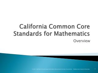 California Common Core Standards for Mathematics