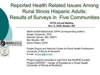Reported Health Related Issues Among Rural Illinois Hispanic Adults:  Results of Surveys in  Five Communities