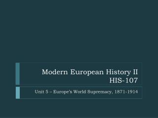 Modern European History II HIS-107