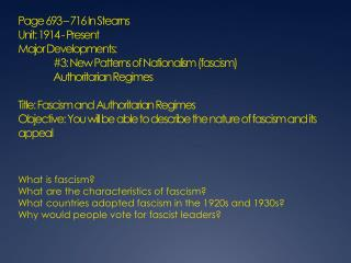 What is fascism? What are the characteristics of fascism?