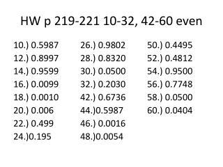 HW p 219-221 10-32, 42-60 even