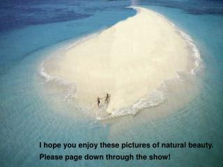 I hope you enjoy these pictures of natural beauty. Please page down through the show!
