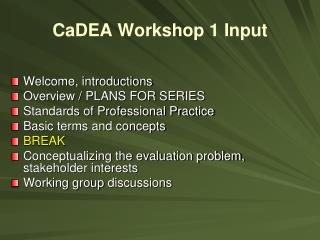 CaDEA  Workshop 1 Input