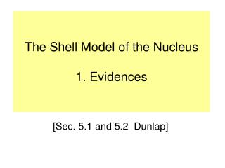 The Shell Model of the Nucleus 1. Evidences
