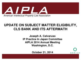 UPDATE ON SUBJECT MATTER ELIGIBILITY, CLS BANK AND ITS AFTERMATH