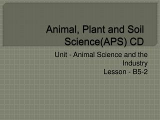 Animal, Plant and Soil Science(APS) CD