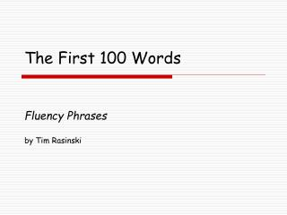 The First 100 Words