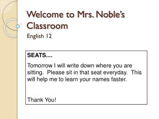 Welcome to Mrs. Noble's Classroom