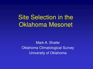 Site Selection in the Oklahoma Mesonet