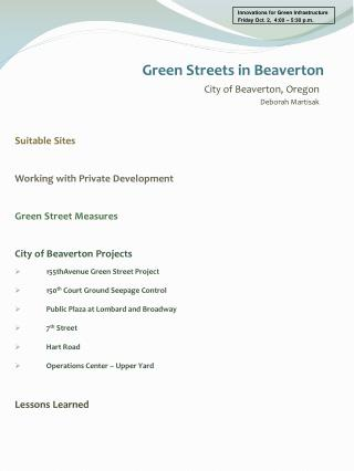 Suitable Sites Working with Private Development Green Street Measures City of Beaverton Projects