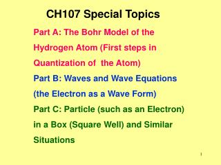 CH107 Special Topics