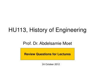HU113, History of Engineering
