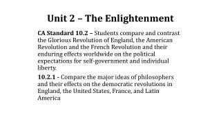 Unit 2  – The Enlightenment