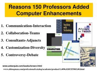 Reasons 150 Professors Added Computer Enhancements