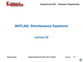 MATLAB: Simultaneous Equations