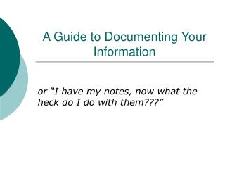 A Guide to Documenting Your Information