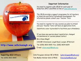 Professional Development Beginning Teachers
