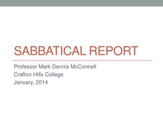 Sabbatical Report
