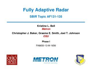 Fully Adaptive Radar SBIR Topic AF131-135
