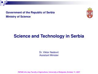Government of the Republic of Serbia Ministry of Science