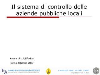 Il sistema di controllo delle aziende pubbliche locali