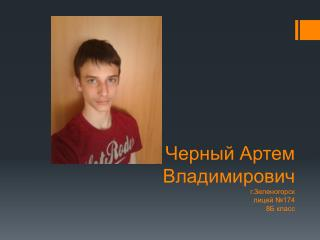 Черный Артем Владимирович г.Зеленогорск лицей №174    8Б класс